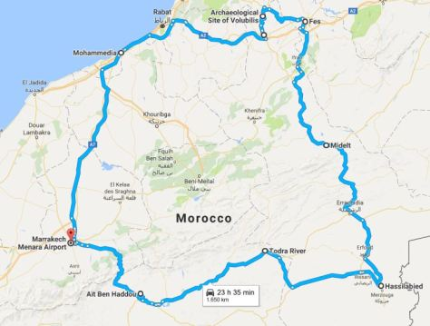 Morocco road trip with cities
